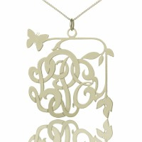 Custom Butterfly Script Monogram Necklace Sterling Silver
