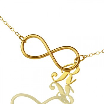 Infinity Knot Initial Necklace 18ct Gold plating