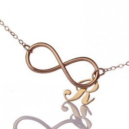Rose Gold Plated Infinity Initial Necklace