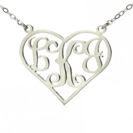 Solid White Gold Initial Monogram Personalised Heart Necklace