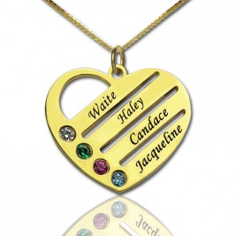 18ct Gold Plated Mothers Birthstone Heart Necklace Engraved Names