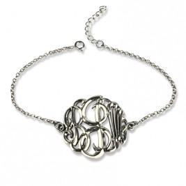Sterling Silver Monogram Bracelet Hand-painted