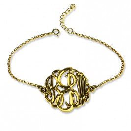 Personalised Monogrammed Bracelet Hand-painted 18ct Gold Plated