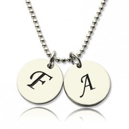 Personalised Initial Discs Necklace Silver