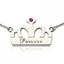 Crown Charm Neckalce with Birthstone  Name Sterling Silver