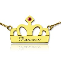 Princess Crown Charm Necklace with Birthstone  Name 18ct Gold Plated