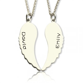 Custom Cute His and Her Angel Wings Necklaces Set Silver