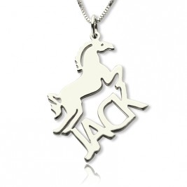 Personalised Horse Name Necklace for Kids Silver