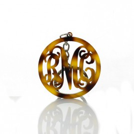 Personalised Acrylic Tortoise Shell Circle Monogram Keychain