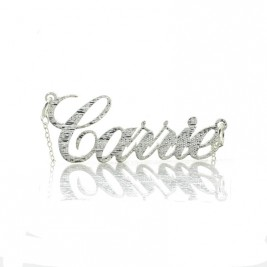 Carrie Silver Glitter Acrylic Name Necklack