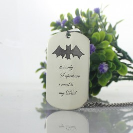 Man's Dog Tag Bat Name Necklace