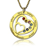 Heart in Heart Birthstone Name Necklace 18ct Gold Plated