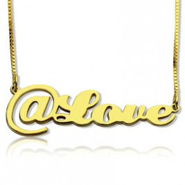 Twitter At Symbol Name Necklace 18ct Gold Plated