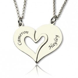 Personalised Breakable Heart Name Necklace for Couples Silver