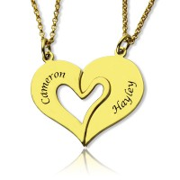 Double Name Heart Friend Necklace Couple Necklace Set 18ct Gold Plated
