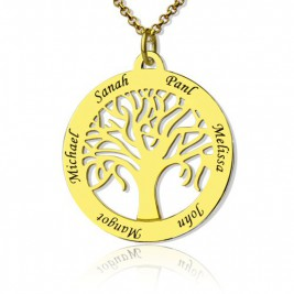 Tree of Life Jewellery Family Name Necklace in 18ct Gold Plated