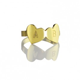 Custom Double Heart Ring Engraved Letter 18ct Gold Plated
