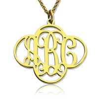 Personalised Cut Out Clover Monogram Necklace 18ct Gold Plated
