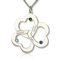 Personalised Three Triple Heart Shamrocks Necklace with Name