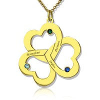 Birthstone Triple Heart Necklace Engraved Name in 18ct Gold Plated