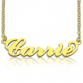 Personalised Carrie Name Necklace 18ct Gold Plated
