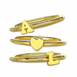 Stackable Initial Ring 18ct Gold Plated