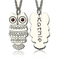 Cute Birthstone Owl Name Necklace for Girls