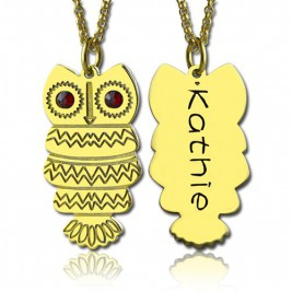 Cute Birthstone Owl Name Necklace 18ct Gold Plated