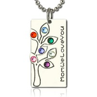 Birthstone Mother Family Tree Necklace Gifts Sterling Silver