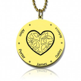 Heart Family Tree Necklace in 18ct Gold Plating
