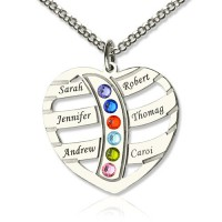 Moms Necklace With Kids Name  Birthstone In Sterling Silver