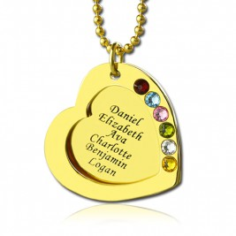 Heart Birthstones Necklace For Mother In Gold