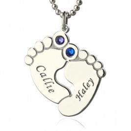 Personalzied Baby Feet Name Necklace with Birthstone Silver