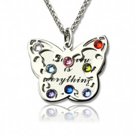 Personalised Birthstone Butterfly Necklace Sterling Silver