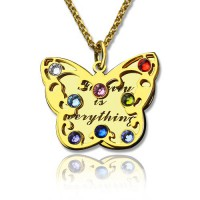 Birthstone Butterfly Necklace 18ct Gold Plated