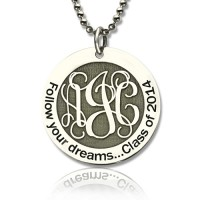 Personalised Class Graduation Monogram Necklace Sterling Silver