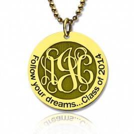 Follow Your Dreams Disc Monogram Necklace 18ct Gold Plated