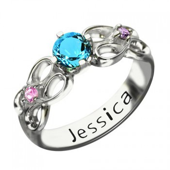 Customised Infinity Promise Ring With Name  Birthstone for Her Silver