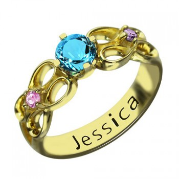 Birthstone Infinity Promise Ring With Name 18ct Gold Plated