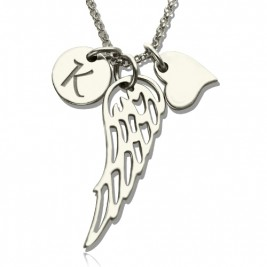 Girls Angel Wing Necklace Gifts With Heart  Initial Charm