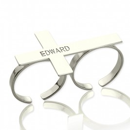 Custom Two finger Cross Ring Engraved Name Sterling Silver