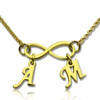 Infinity Pendant Double Initial 18ct Gold Plated