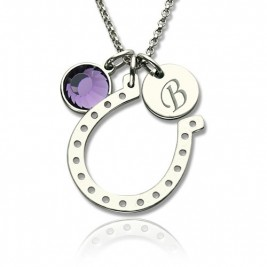 Horseshoe Good Luck Necklace with Initial  Birthstone Charm