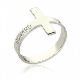 Engraved Name Cross Rings Sterling Silver