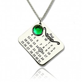Birthstone Birthday Calendar Necklace Gifts Sterling Silver