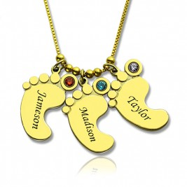 Mother Pendant Baby Feet Necklace 18ct Gold Plated
