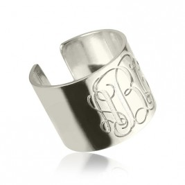 Personalised Monogram Cuff Ring Sterling Silver