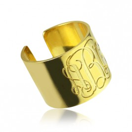 Script Monogram Cuff Ring Gifts 18ct Gold Plated