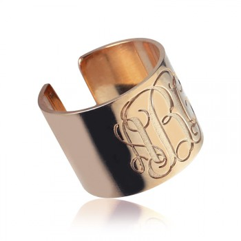 Engraved Monogram Cuff Ring Rose Gold