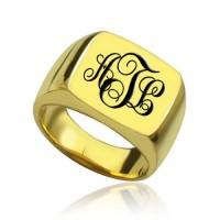 Custom 18ct Gold Plated Monogram Signet Ring